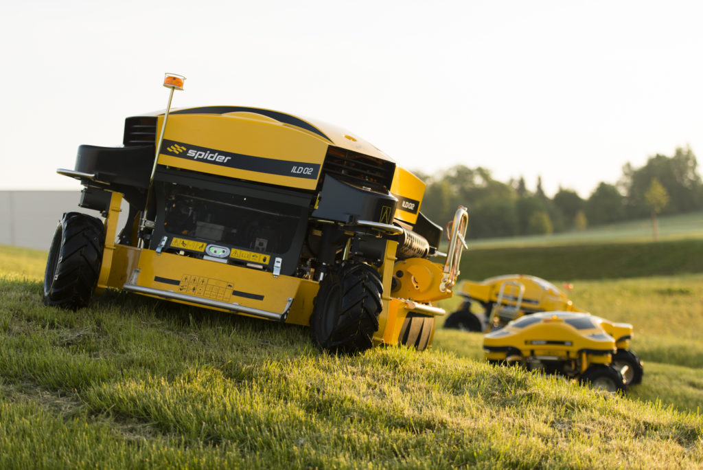 Spider ILD02 Mowers on a Grassy Hill at Sunset