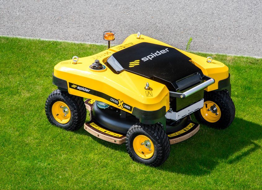 Aerial View of SPIDER CROSS LINER Remote-Control Slope Mower