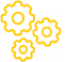 Icon drawing of small yellow gears